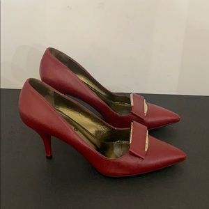 Authentic Lanvin red leather pumps heels sz 7